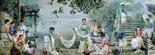老上海黑白手绘油画
